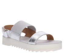 Sandale, Leder, Elastikeinsatz, Klettverschluss, Statement-Sohle
