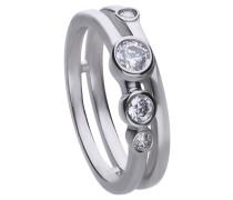 Zweireihiger Ring  mit weißem -Zirkonia und Zargen-Fassung 6120571082180