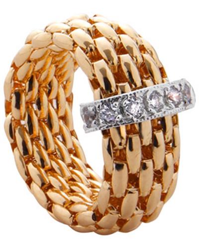 Damen-Flexring Silber vergoldet mit Zirkonia
