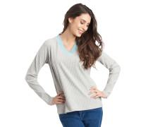 Pullover, Kontrast-Ausschnitt, Struktur-Muster