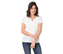T-Shirt, Split-Neck, Gummibund, Ärmel-Schlitze