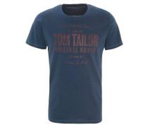 T-Shirt, Flammgarn-Optik, Schrift-Print, Rundhalsausschnitt