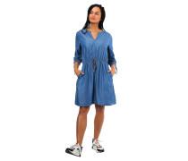 Kleid, 3/4-Arm, Split-Neck, Taillen-Gummizug, Schleifen