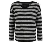Pullover, Querstreifen, V-Ausschnitt