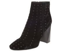 Ankle Boots, Blockabsatz, Samt, Nieten