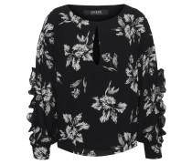 Bluse, florales Design, Rüschen, Cut-Outs