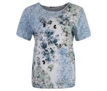 T-Shirt, floraler Print, Strass, Rundhalsausschnitt