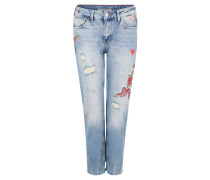 Jeans, Relaxed Skinny Fit, florale Stickereien