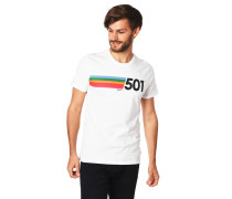 T-Shirt, Label-Print, Baumwolle, Rippblende