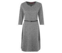 Kleid, 3/4-Arm, Fischgrät-Muster, Split-Neck, Gürtel