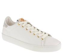 Sneaker, Leder, Strass-Besatz, uni