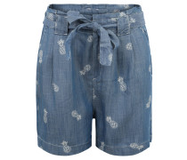 Shorts, Paperbag-Stil, Ananas-Print, Bindegürtel