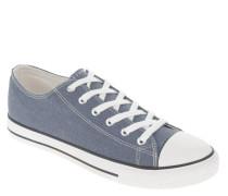Sneaker, uni, Canvas, Gummikappe, Schnürung