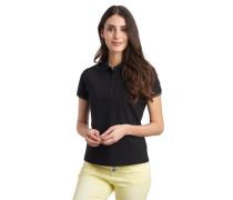 Poloshirt, lange Knopfleiste, Glitzer-Ärmelsaum