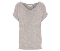 T-Shirt, meliert, V-Ausschnitt, Streifen hinten