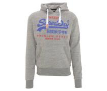 Sweatshirt, meliert, Print, Kapuze, Tasche