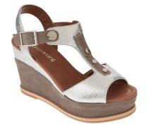 Sandaletten, Leder, Keilabsatz, metallic