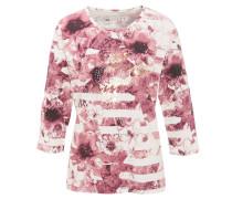 Shirt, 3/4-Armlänge, florales Muster, Strass, reine Bio-Baumwolle