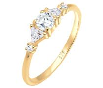 Ring Triangle Zirkonia Funkelnd 925 Sterling Silber