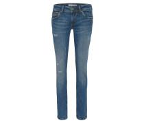 Jeans, Slim Fit, Used-Look, Waschungseffekte