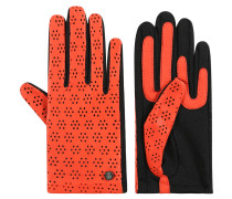 Handschuhe, Material-Mix, florale Perforation