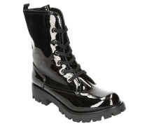 Boots, Lack-Optik, Profilsohle, Schnürung, Nieten-Details