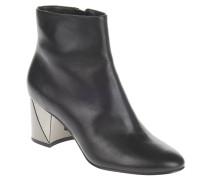 Ankle Boots, Kalbsleder, Metallic-Blockabsatz