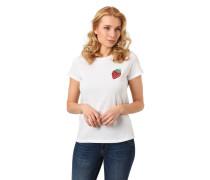 T-Shirt, Stickerei, Rundhalsausschnitt, reine Baumwolle