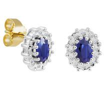 Ohrstecker, Saphir, mit Diamanten, Gold 375, zus. ca. 0