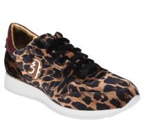 Sneaker, Leder, Samt, Leoparden-Muster, Glitzer