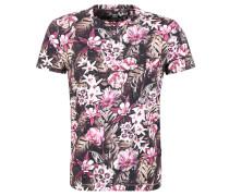 T-Shirt, Baumwolle, florales Muster, Rundhalsausschnitt