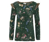 Blusenshirt, floraler Print, Leoparden-Rüschen