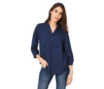Blusenshirt, 3/4-Arm, transparent, Rückenfalte, Brusttaschen
