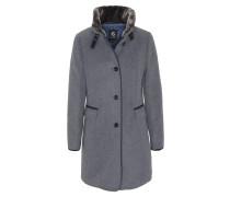 Mantel, Woll-Anteil, Stehkragen, Knopfleiste, Paspeltaschen