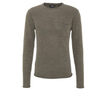 Pullover, Strick, Brusttasche, Rollsaum