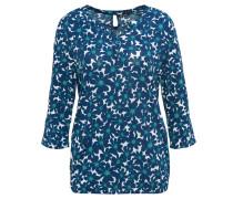 Shirt, florales Muster, Volant-Ärmel, Gummibund, Split-Neck