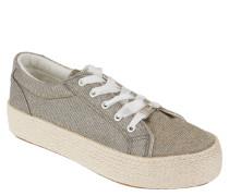 Sneaker, Plateau, Glitzer, breite Schnürsenkel
