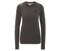 Pullover, Baumwolle, meliert, Rippbündchen, Stern-Patches