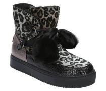 Boots, Leoparden-Muster, gefüttert, Bommel, Herz-Patch