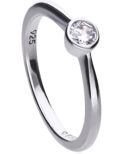 Solitär-Ring  mit weißem -Zirkonia und Zargen-Fassung 6118101582180