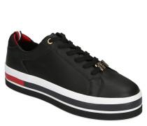Sneaker, Leder, Plateau, Marken-Details, Verzierung an Schnürsenkel