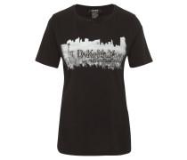 T-Shirt, Baumwolle, Logo-Print, Strass