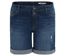 Jeans-Shorts, Baumwoll-Stretch, variable Säume, Waschung
