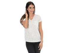 T-Shirt, Allover-Print, Brusttasche, V-Ausschnitt