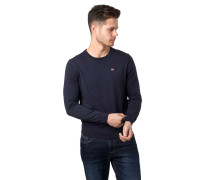 Pullover, Baumwolle, Rundhalsausschnitt, Ripp-Bündchen