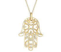 Halskette Hamsa Hand Swarovski® Kristalle 925 Silber