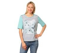 T-Shirt, Halbarm, floraler Print, Streifen, Strass-Details