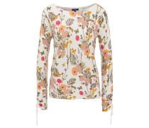 Langarmshirt, Blumenmuster, Binde-Detail, Raffung