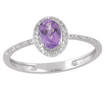 Diamant-Ring, Weißgold 375, Amethyst, zus. ca 0