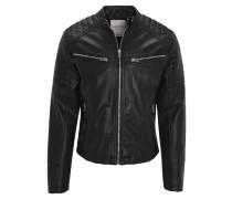 Jacke, Kunstleder, Biker-Look, Reißverschlusstaschen